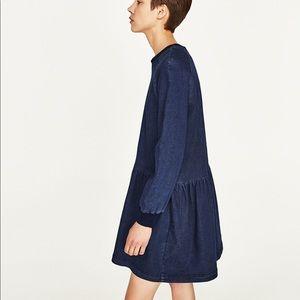 Zara Long Sleeve Denim Dress